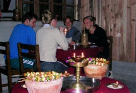 abendessen tandoori samthar farmhaus kalimpong indien