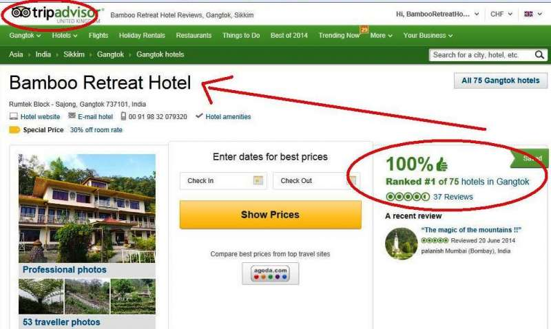 Bamboo Retreat Hotel in Sikkim India rated Nr. 1 in Trip Advisor