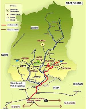 karte reiseroute modul sikkim ost basis indien