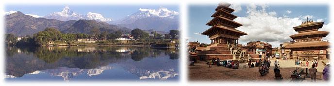 pokhara landschaft tempel nepal